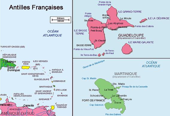 Carte des antilles Françaises