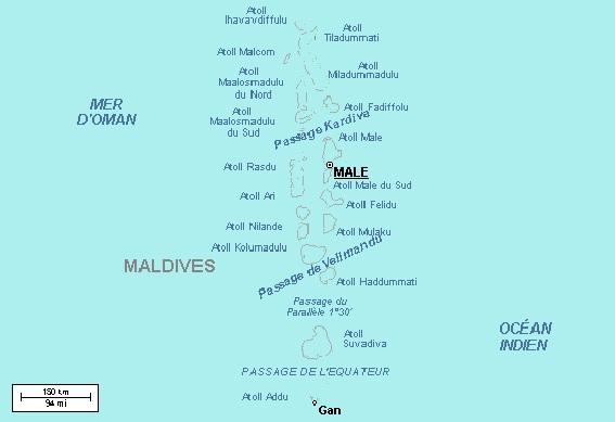 Carte des Maldives